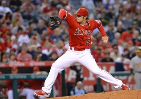 Jun 13, 2015; Anaheim, CA, USA; Los Angeles Angels starting pitcher C.J. Wilson (33) in the fourth inning of the game against the Oakland Athletics at Angel Stadium of Anaheim. Mandatory Credit: Jayne Kamin-Oncea-USA TODAY Sports ORG XMIT: USATSI-215202 ORIG FILE ID: 20150613_sng_aj4_146.JPG